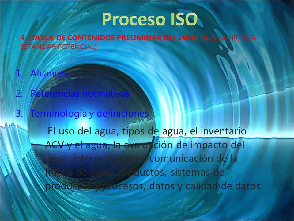 4. [TABLA DE CONTENIDOS PRELIMINAR ISO 14046 HUELLA HÍDRICA ESTÁNDAR POTENCIAL] 1.Alcances 2.Referencias normativas 3.Terminología y definiciones El u