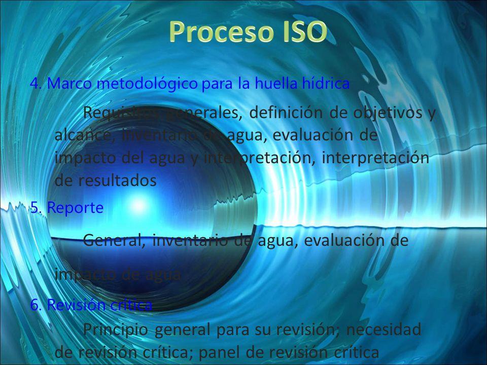 4. Marco metodológico para la huella hídrica Requisitos generales, definición de objetivos y alcance, inventario de agua, evaluación de impacto del ag