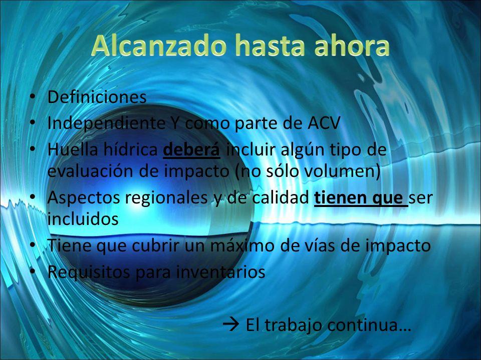 Definiciones Independiente Y como parte de ACV Huella hídrica deberá incluir algún tipo de evaluación de impacto (no sólo volumen) Aspectos regionales