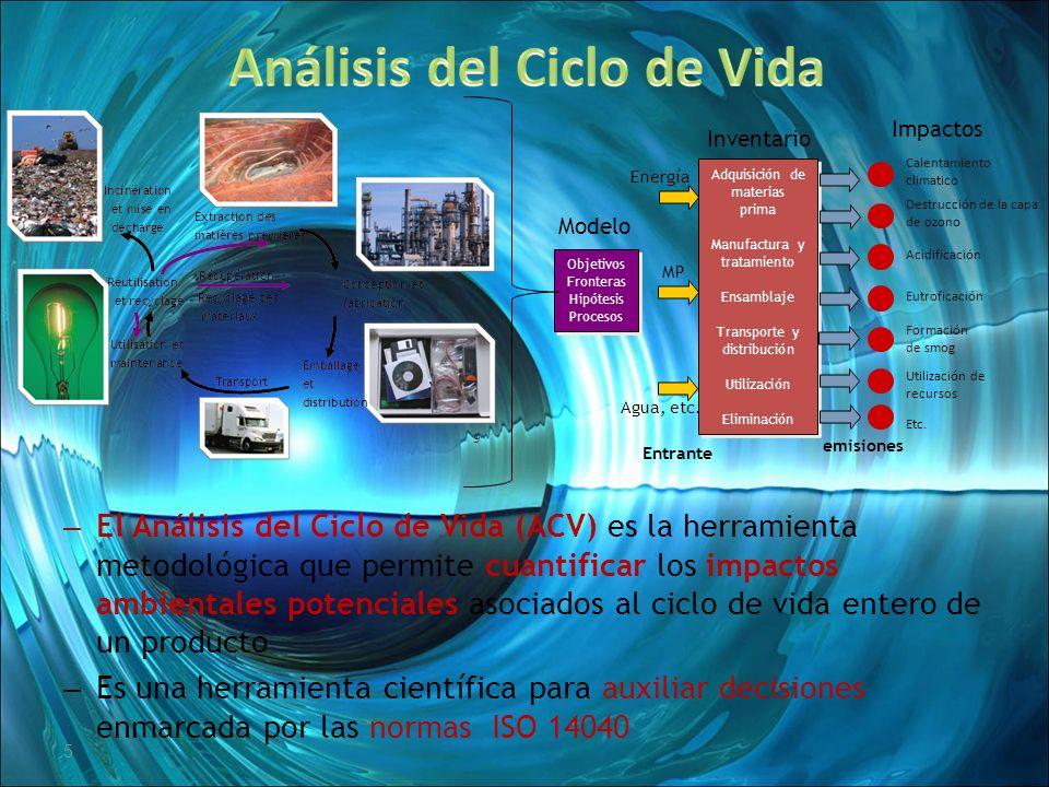 5 – El Análisis del Ciclo de Vida (ACV) es la herramienta metodológica que permite cuantificar los impactos ambientales potenciales asociados al ciclo
