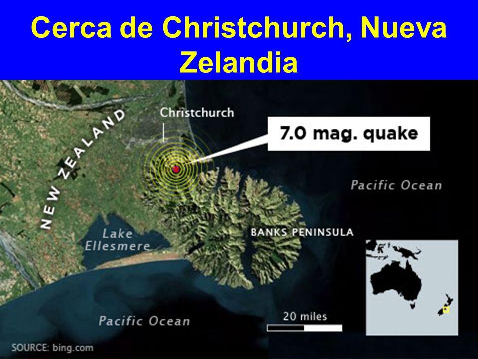 Superficial, temprano, terremoto de magnitud 7.0, golpea Christchurch, Nueva Zelandia Profundidad focal 10 km sobre una falla de deslizamiento lateral