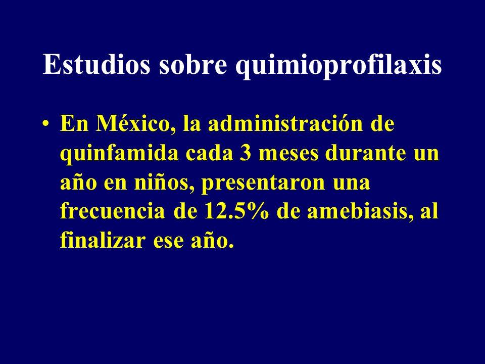 Estudios sobre quimioprofilaxis En México, la administración de quinfamida cada 3 meses durante un año en niños, presentaron una frecuencia de 12.5% d