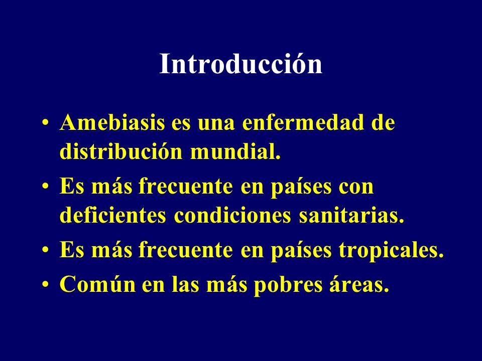 Introducción Amebiasis es una enfermedad de distribución mundial. Es más frecuente en países con deficientes condiciones sanitarias. Es más frecuente