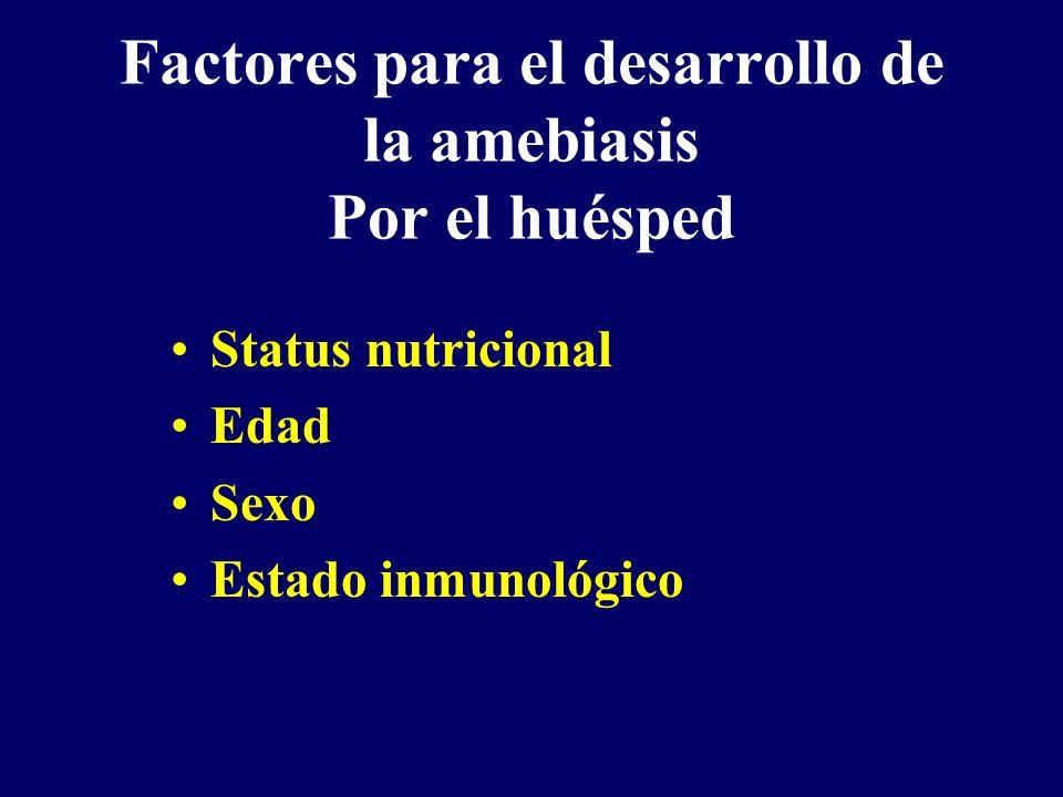 Factores para el desarrollo de la amebiasis Por el huésped Status nutricional Edad Sexo Estado inmunológico