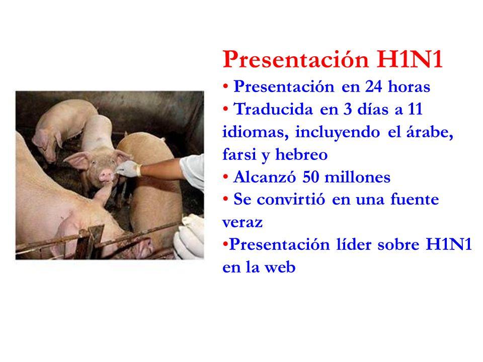 Presentación H1N1 Presentación en 24 horas Traducida en 3 días a 11 idiomas, incluyendo el árabe, farsi y hebreo Alcanzó 50 millones Se convirtió en una fuente veraz Presentación líder sobre H1N1 en la web