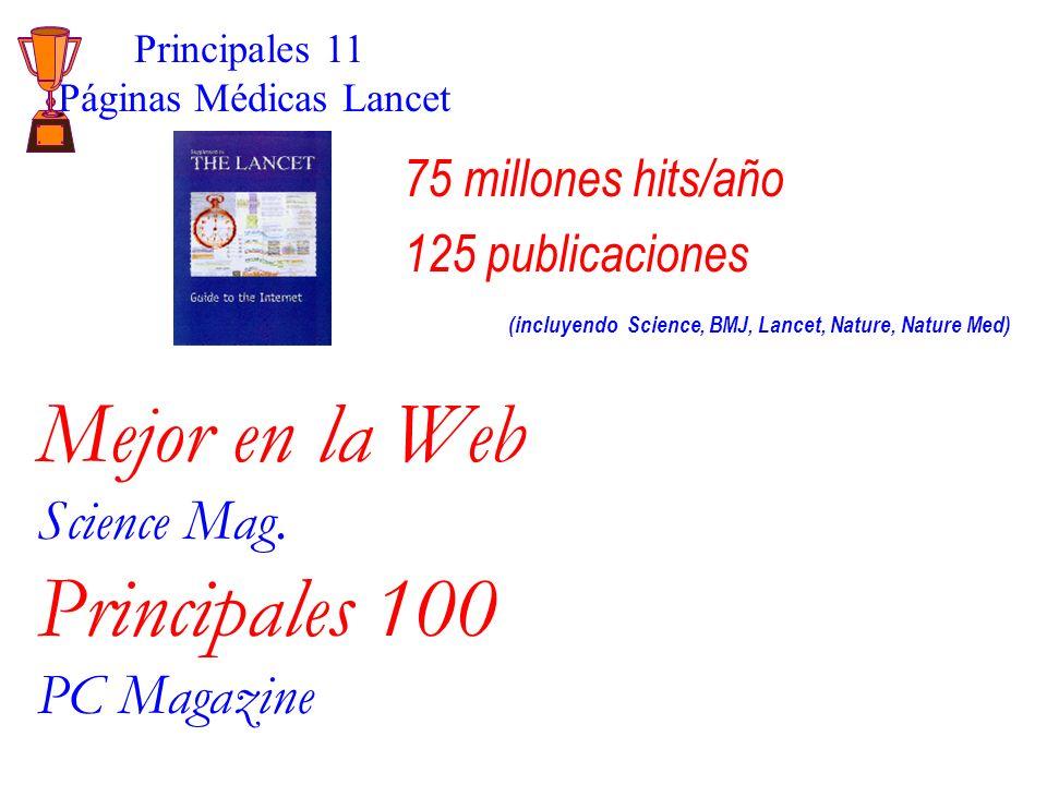 75 millones hits/año 125 publicaciones (incluyendo Science, BMJ, Lancet, Nature, Nature Med) Principales 11 Páginas Médicas Lancet Mejor en la Web Science Mag.