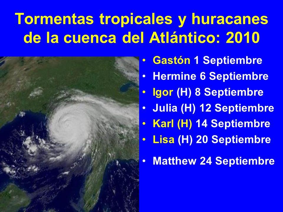 Tormentas tropicales y huracanes de la cuenca del Atlántico: 2010 Gastón 1 Septiembre Hermine 6 Septiembre Igor (H) 8 Septiembre Julia (H) 12 Septiembre Karl (H) 14 Septiembre Lisa (H) 20 Septiembre Matthew 24 Septiembre