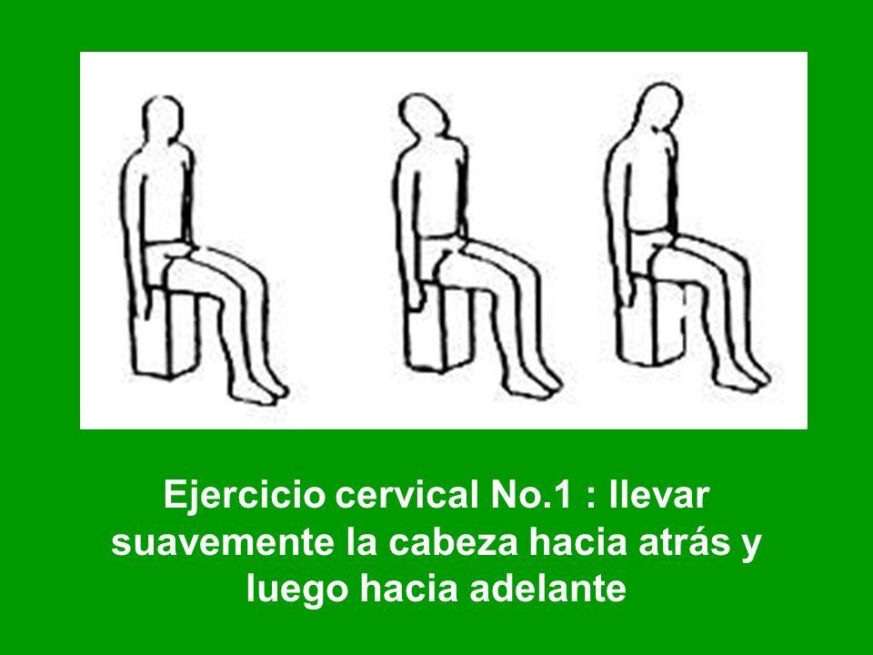 Ejercicio cervical No.1 : llevar suavemente la cabeza hacia atrás y luego hacia adelante