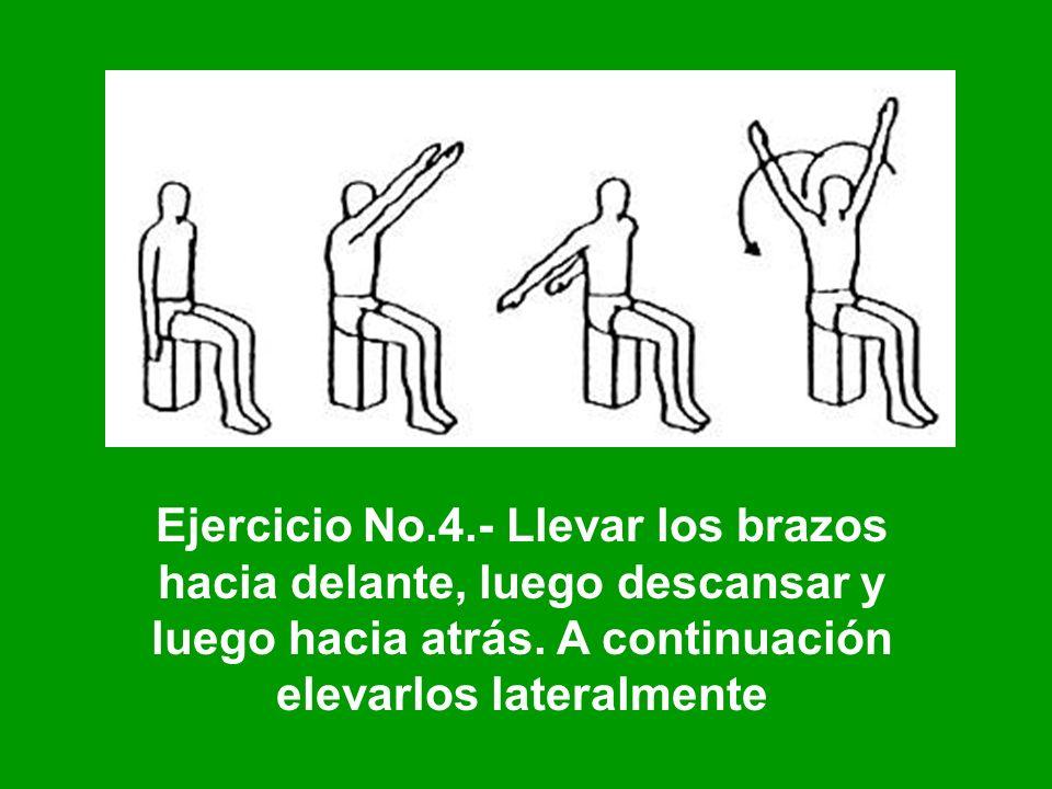 Ejercicio No.4.- Llevar los brazos hacia delante, luego descansar y luego hacia atrás. A continuación elevarlos lateralmente
