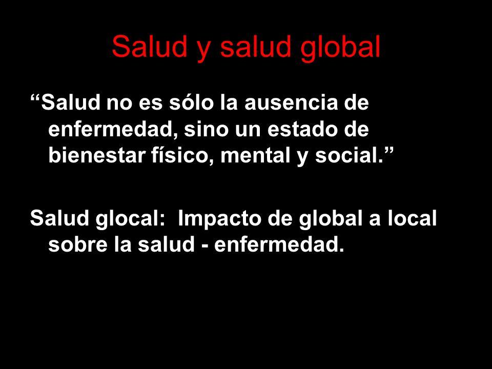 Salud y salud global Salud no es sólo la ausencia de enfermedad, sino un estado de bienestar físico, mental y social.