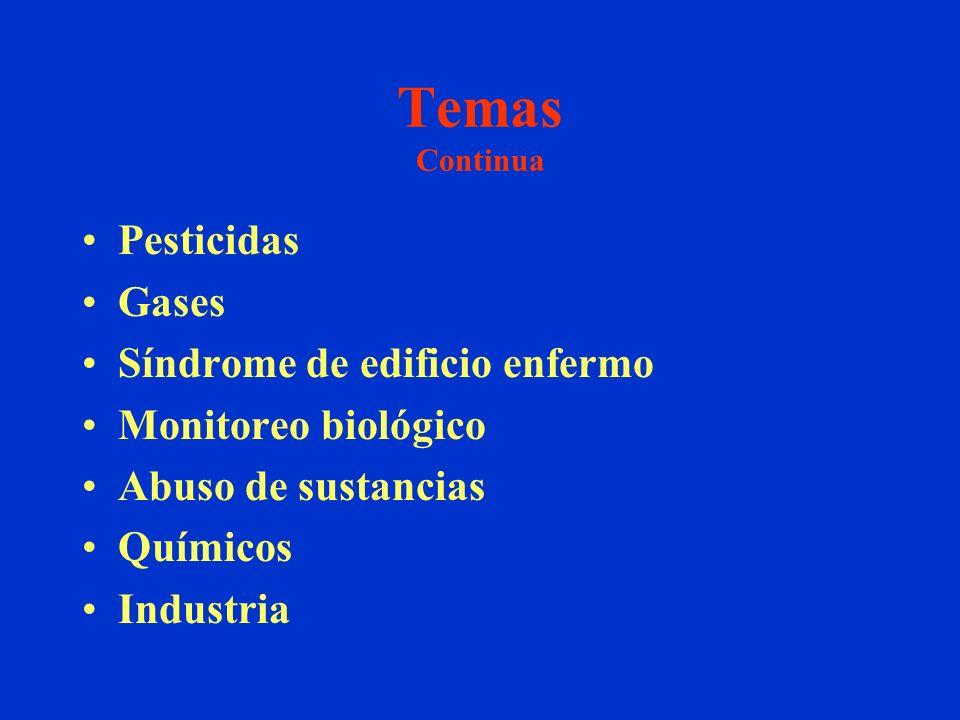 Temas Continua Pesticidas Gases Síndrome de edificio enfermo Monitoreo biológico Abuso de sustancias Químicos Industria