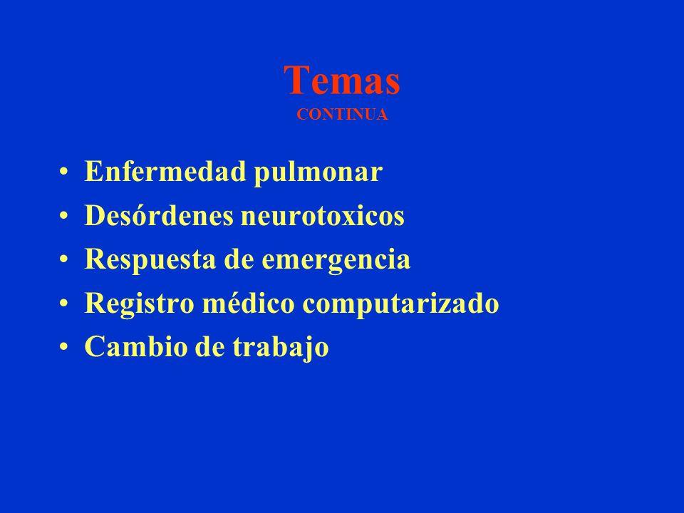 Temas CONTINUA Enfermedad pulmonar Desórdenes neurotoxicos Respuesta de emergencia Registro médico computarizado Cambio de trabajo