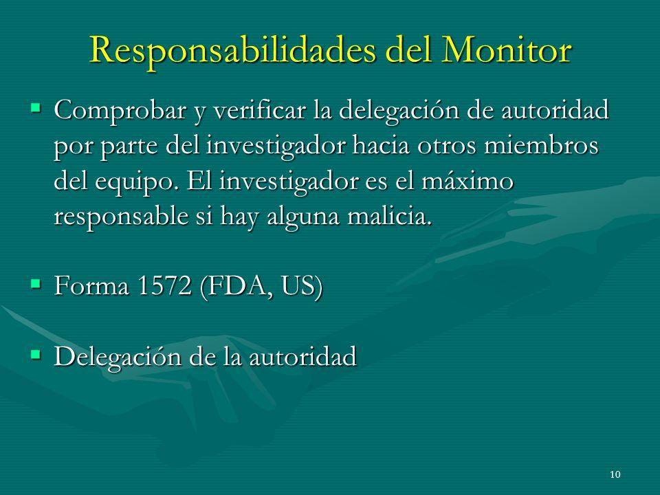 10 Responsabilidades del Monitor Comprobar y verificar la delegación de autoridad por parte del investigador hacia otros miembros del equipo. El inves