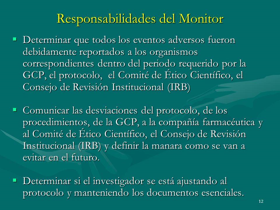12 Responsabilidades del Monitor Determinar que todos los eventos adversos fueron debidamente reportados a los organismos correspondientes dentro del