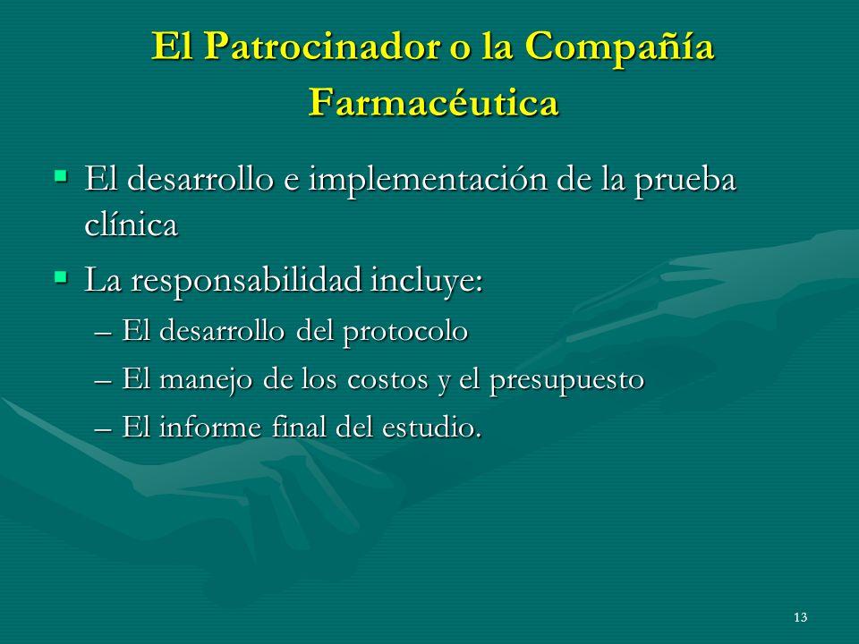 13 El Patrocinador o la Compañía Farmacéutica El desarrollo e implementación de la prueba clínica El desarrollo e implementación de la prueba clínica