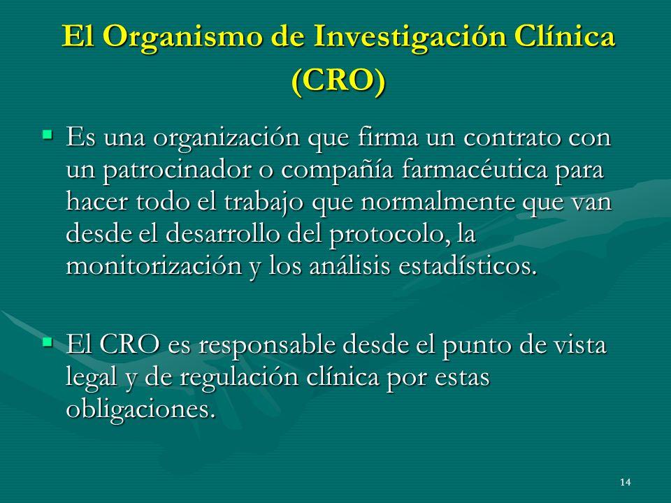 14 El Organismo de Investigación Clínica (CRO) Es una organización que firma un contrato con un patrocinador o compañía farmacéutica para hacer todo e