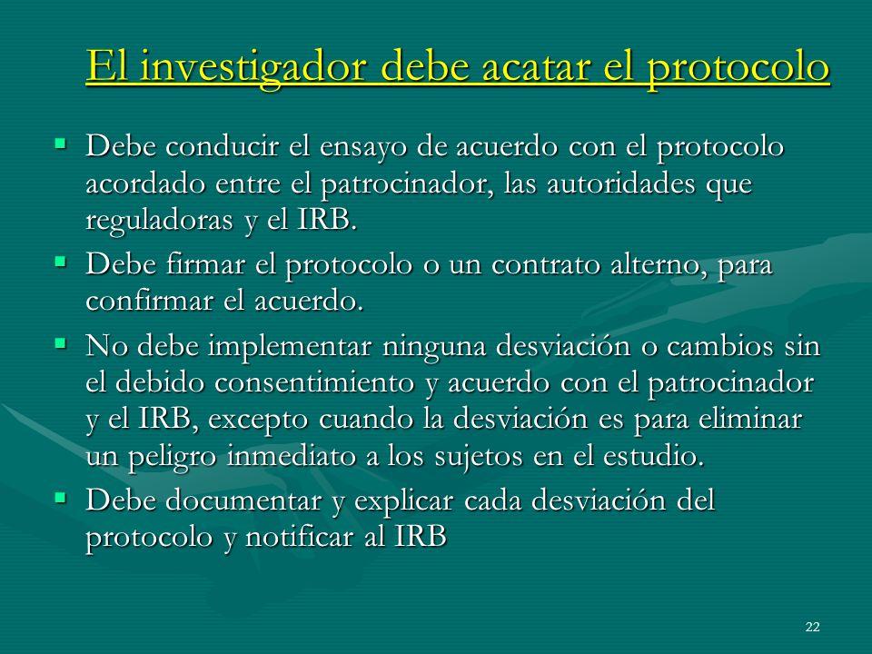 22 El investigador debe acatar el protocolo Debe conducir el ensayo de acuerdo con el protocolo acordado entre el patrocinador, las autoridades que re