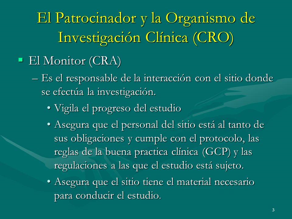 3 El Patrocinador y la Organismo de Investigación Clínica (CRO) El Monitor (CRA) El Monitor (CRA) –Es el responsable de la interacción con el sitio do