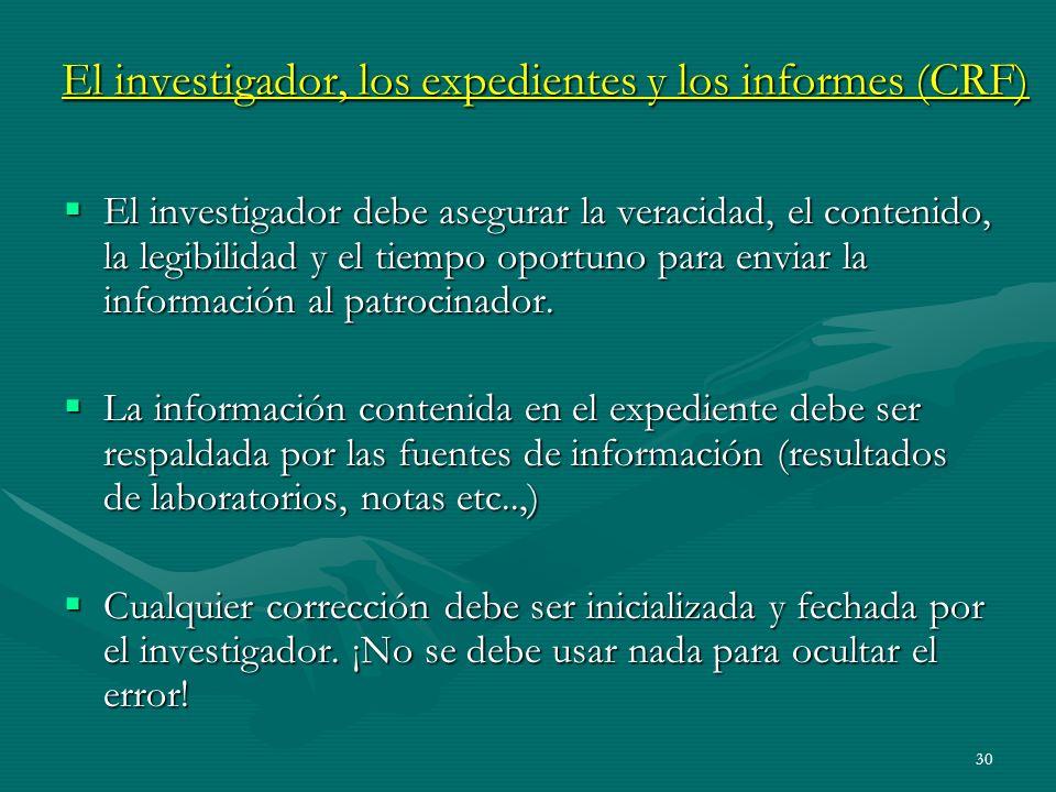 30 El investigador, los expedientes y los informes (CRF) El investigador debe asegurar la veracidad, el contenido, la legibilidad y el tiempo oportuno