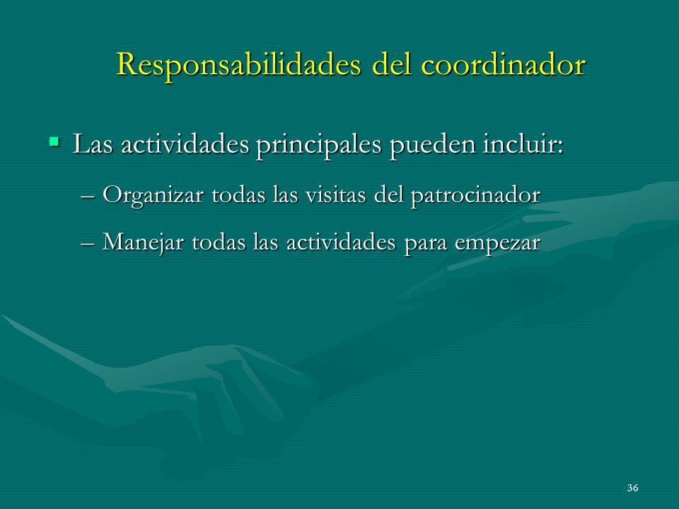 36 Responsabilidades del coordinador Las actividades principales pueden incluir: Las actividades principales pueden incluir: –Organizar todas las visi