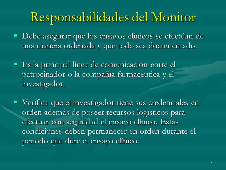 4 Responsabilidades del Monitor Debe asegurar que los ensayos clínicos se efectúan de una manera ordenada y que todo sea documentado. Debe asegurar qu