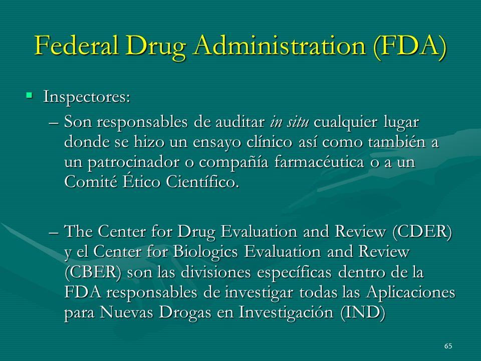 65 Federal Drug Administration (FDA) Inspectores: Inspectores: –Son responsables de auditar in situ cualquier lugar donde se hizo un ensayo clínico as
