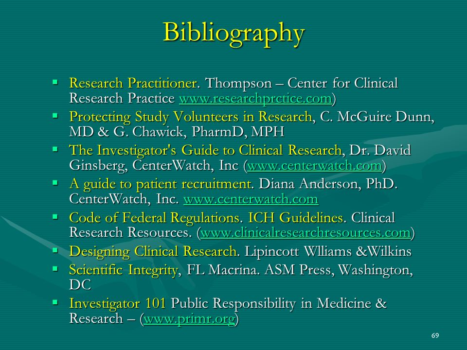69 Bibliography Research Practitioner. Thompson – Center for Clinical Research Practice www.researchprctice.com) Research Practitioner. Thompson – Cen