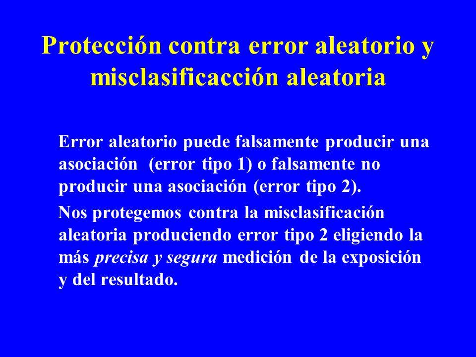 Protección contra error aleatorio y misclasificacción aleatoria Error aleatorio puede falsamente producir una asociación (error tipo 1) o falsamente n