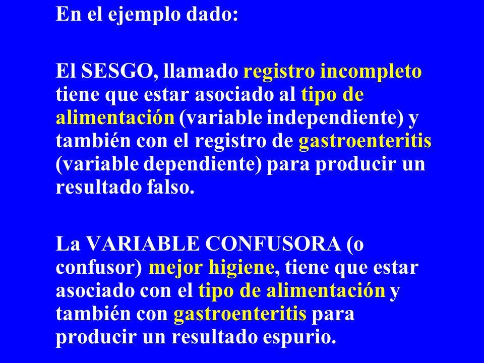 En el ejemplo dado: El SESGO, llamado registro incompleto tiene que estar asociado al tipo de alimentación (variable independiente) y también con el r