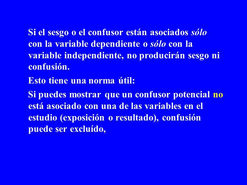 Si el sesgo o el confusor están asociados sólo con la variable dependiente o sólo con la variable independiente, no producirán sesgo ni confusión. Est