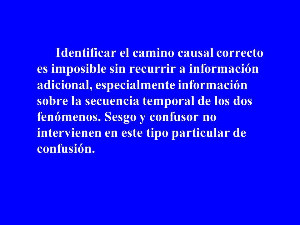 Identificar el camino causal correcto es imposible sin recurrir a información adicional, especialmente información sobre la secuencia temporal de los
