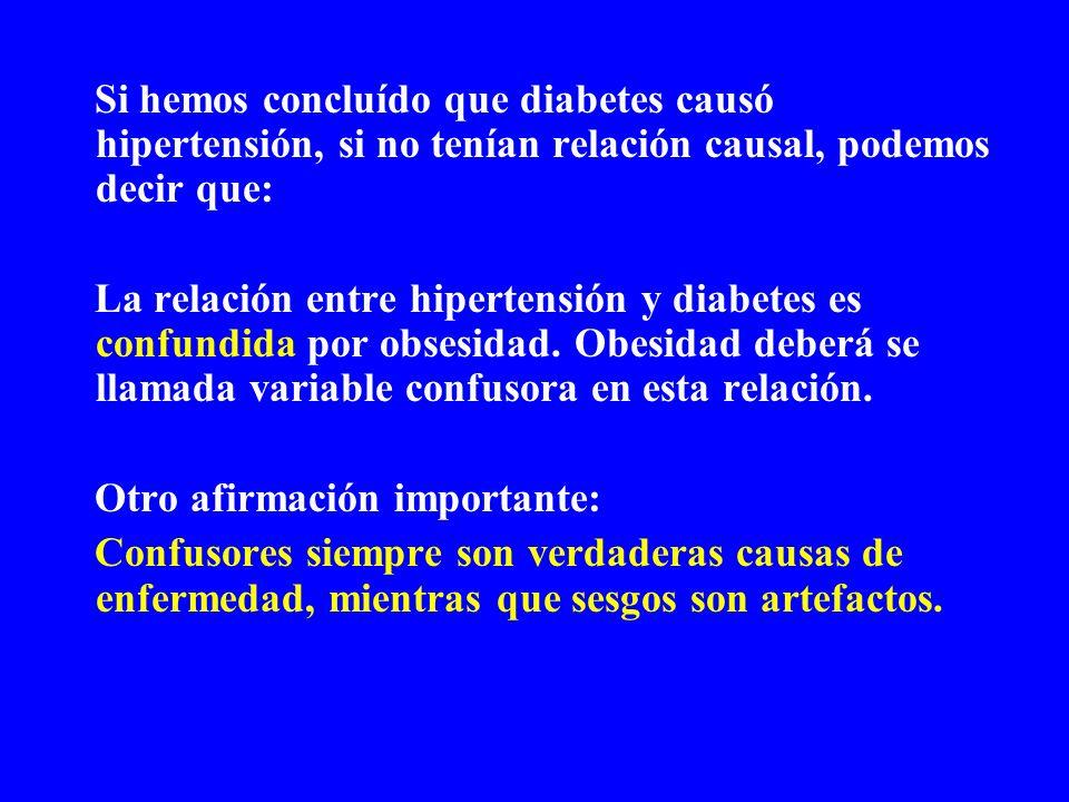 Si hemos concluído que diabetes causó hipertensión, si no tenían relación causal, podemos decir que: La relación entre hipertensión y diabetes es conf