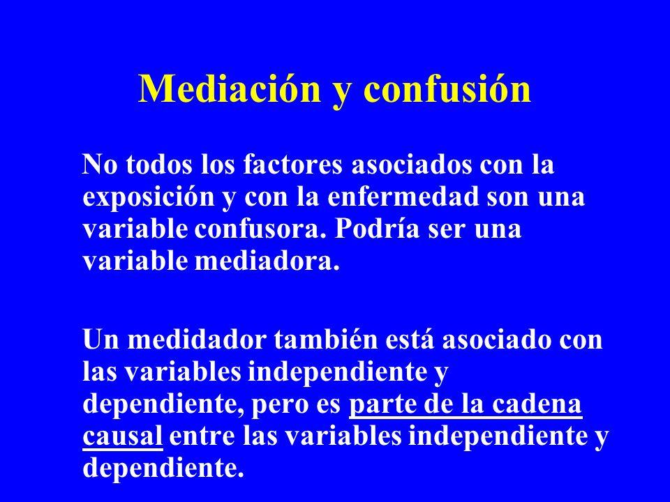 Mediación y confusión No todos los factores asociados con la exposición y con la enfermedad son una variable confusora. Podría ser una variable mediad