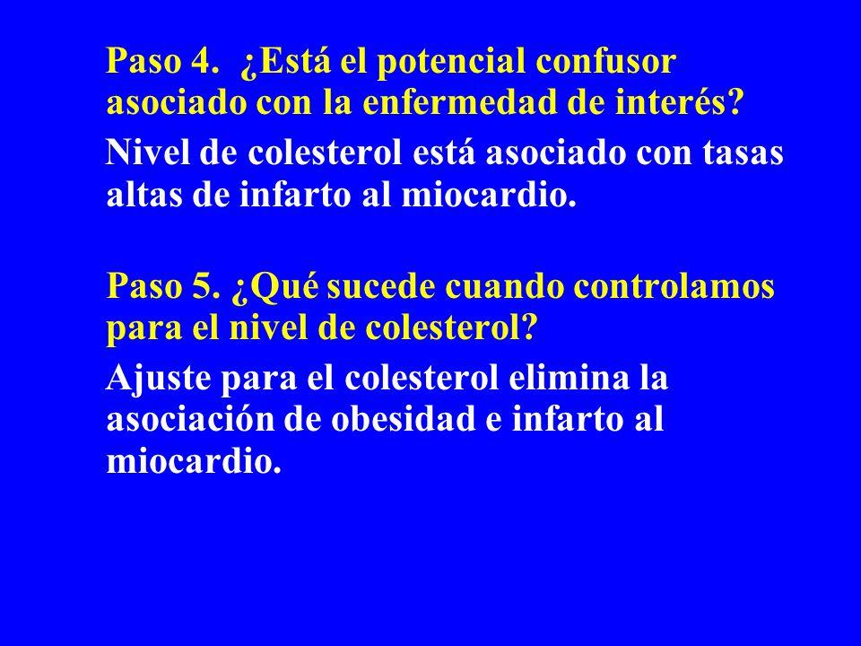 Paso 4. ¿Está el potencial confusor asociado con la enfermedad de interés? Nivel de colesterol está asociado con tasas altas de infarto al miocardio.