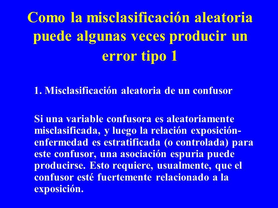 Como la misclasificación aleatoria puede algunas veces producir un error tipo 1 1. Misclasificación aleatoria de un confusor Si una variable confusora