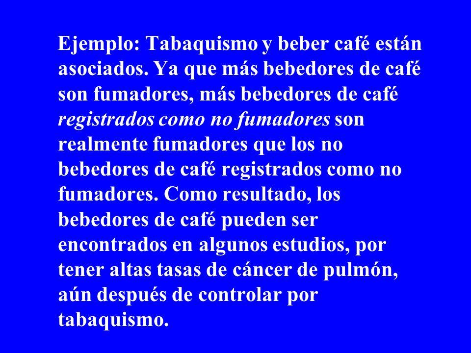 Ejemplo: Tabaquismo y beber café están asociados. Ya que más bebedores de café son fumadores, más bebedores de café registrados como no fumadores son