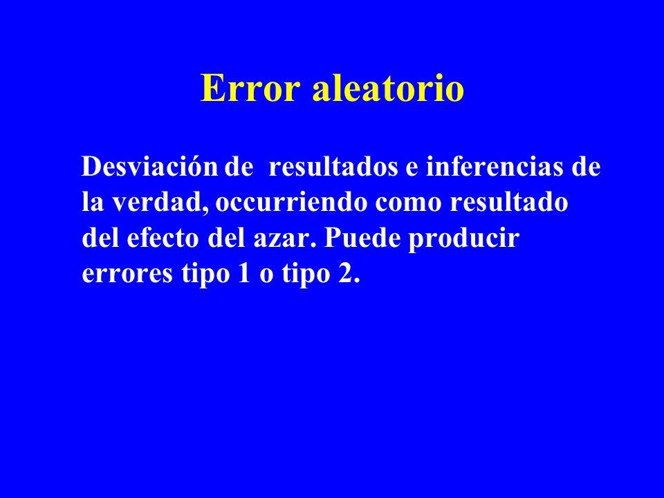 Error aleatorio Desviación de resultados e inferencias de la verdad, occurriendo como resultado del efecto del azar. Puede producir errores tipo 1 o t