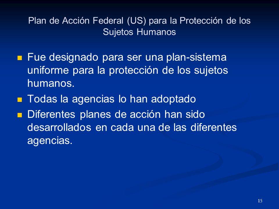 16 Departamento de Salud y Servicios Humanos 45 CFR 46 CFR: Code of Federal Regulations Tiene varias niveles.