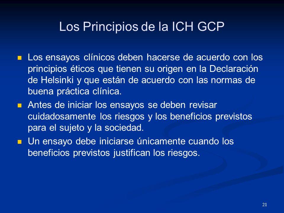22 Los Principios de la ICH GCP Los derechos, la seguridad y el bienestar de los sujetos son las consideraciones mas importantes en el estudio y deben de prevalecer por encima de los intereses de la ciencia y la sociedad.