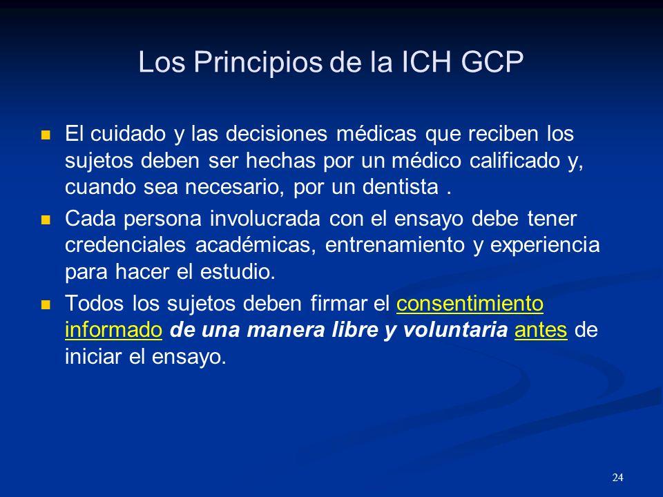 25 Los Principios de la ICH GCP Toda la información clínica debe ser recopilada, manejada y guardada de tal manera que se pueda hacer un informe exacto, además de una interpretación y verificación de los resultados.