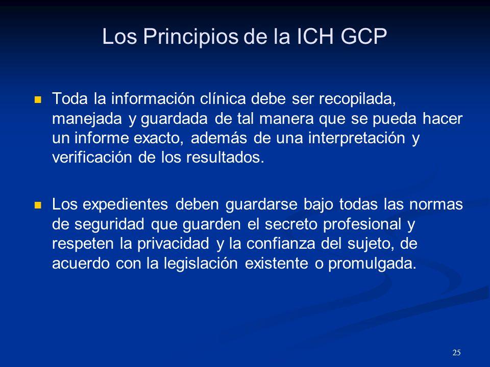 26 Los Principios de la ICH GCP Los productos de investigación deben ser manufacturados, elaborados y guardados de acuerdo con las normas de la buena práctica de elaborar los productos médicos.