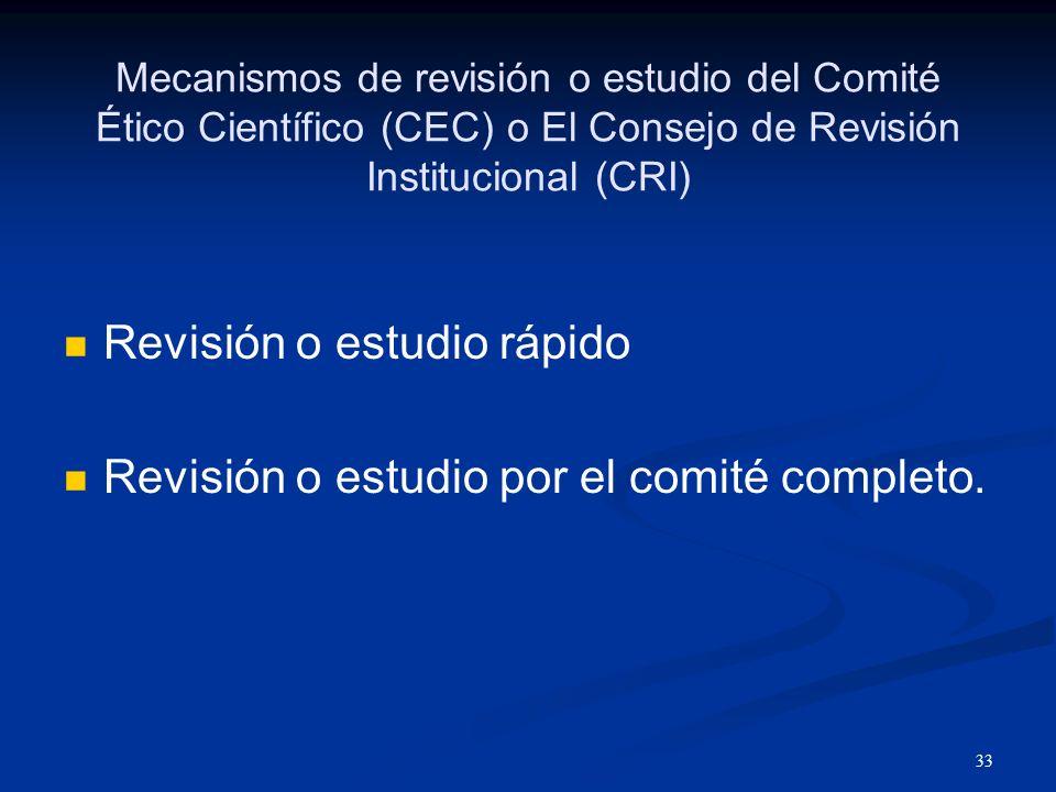 34 Tipos de revisión o estudio del Comité Ético Científico (CEC) o El Consejo de Revisión Institucional (CRI) Inicial Para continuar Para enmiendas Para estudiar los eventos adversos Para revisar casos de no cumplir con los reglamentos El Comité Ético Científico / El Consejo de Revisión Institucional (CEC/CRI) solamente tiene autoridad de aprobar un estudio por 365 días a la vez.