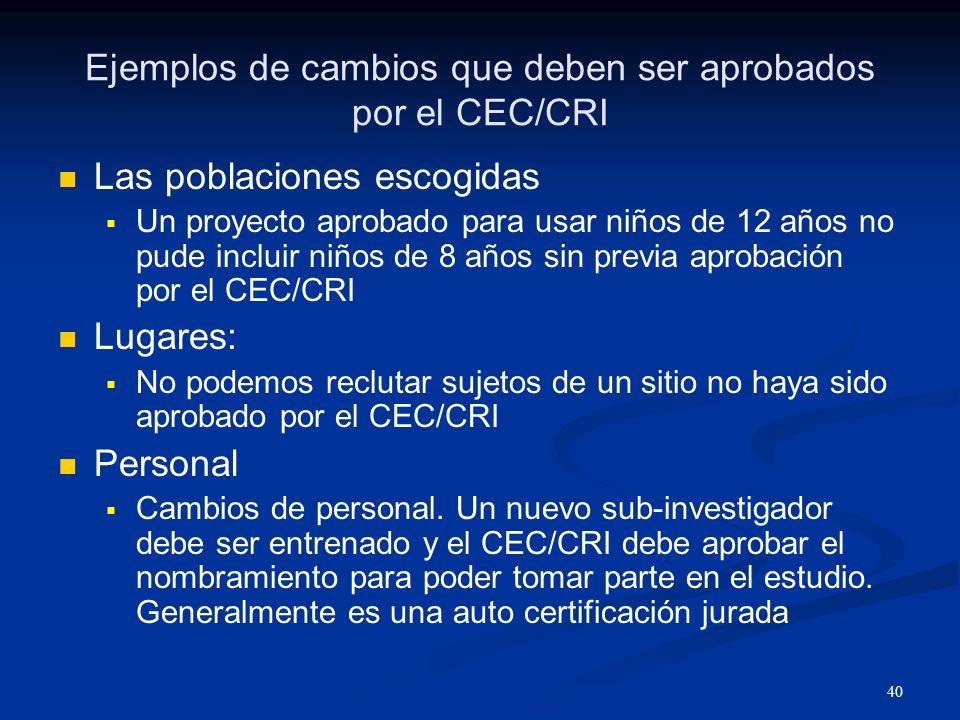 41 Modificaciones / Enmiendas al Protocolo Por cada enmienda al protocolo se debe obtener aprobación del CEC/CRI Hay que obtener la aprobación antes de implementar el cambio.