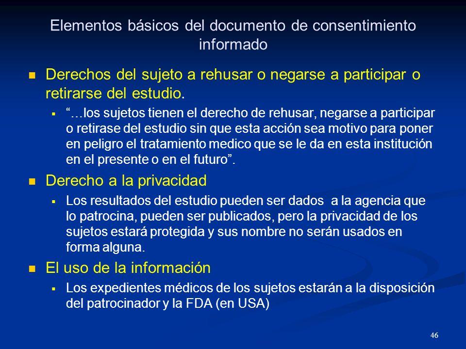 47 Elementos básicos del documento de consentimiento informado Aspectos financieros.