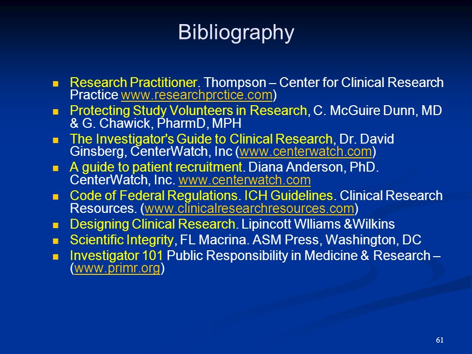 61 Bibliography Research Practitioner. Thompson – Center for Clinical Research Practice www.researchprctice.com)www.researchprctice.com Protecting Stu