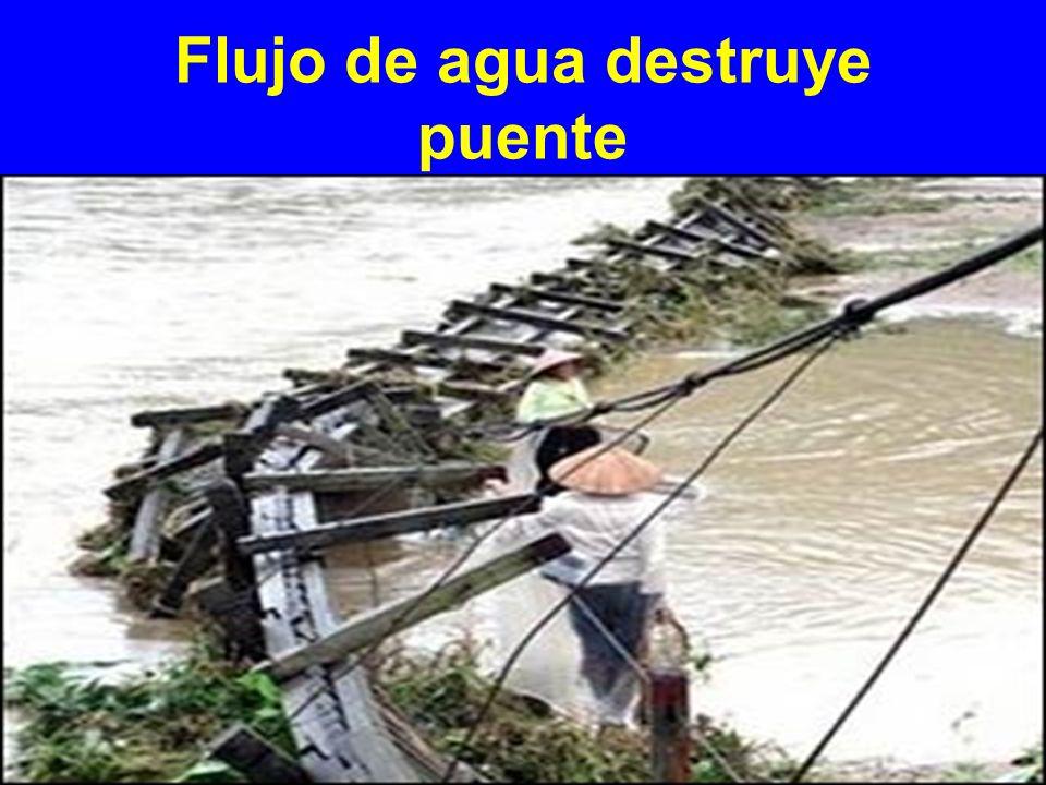Flujo de agua destruye puente