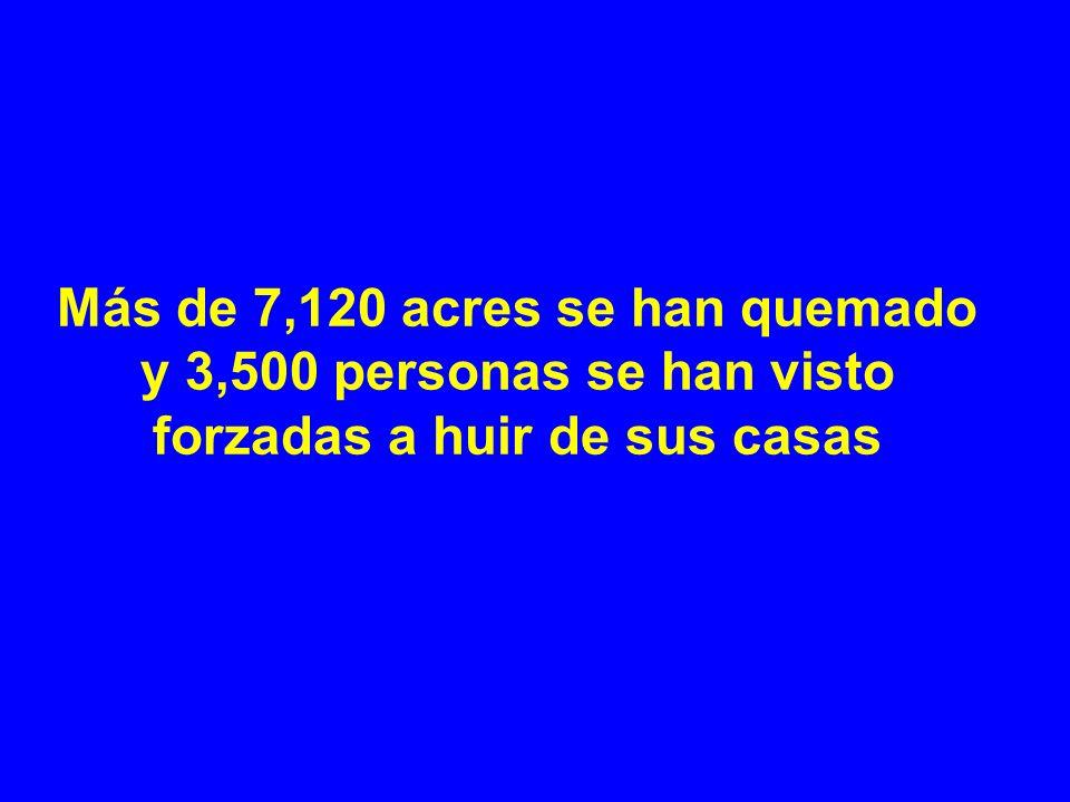Más de 7,120 acres se han quemado y 3,500 personas se han visto forzadas a huir de sus casas