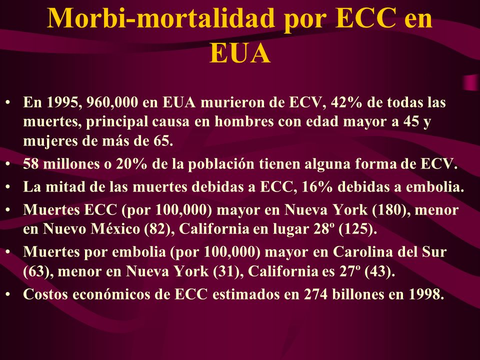 Morbi-mortalidad por ECC en EUA En 1995, 960,000 en EUA murieron de ECV, 42% de todas las muertes, principal causa en hombres con edad mayor a 45 y mu