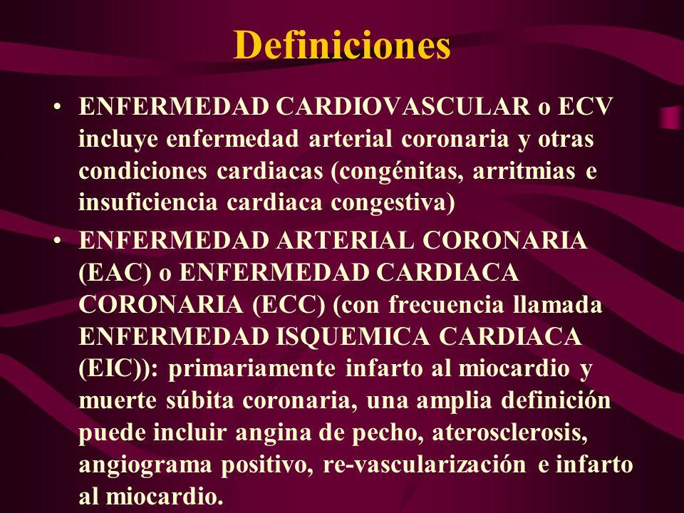 Definiciones ENFERMEDAD CARDIOVASCULAR o ECV incluye enfermedad arterial coronaria y otras condiciones cardiacas (congénitas, arritmias e insuficienci
