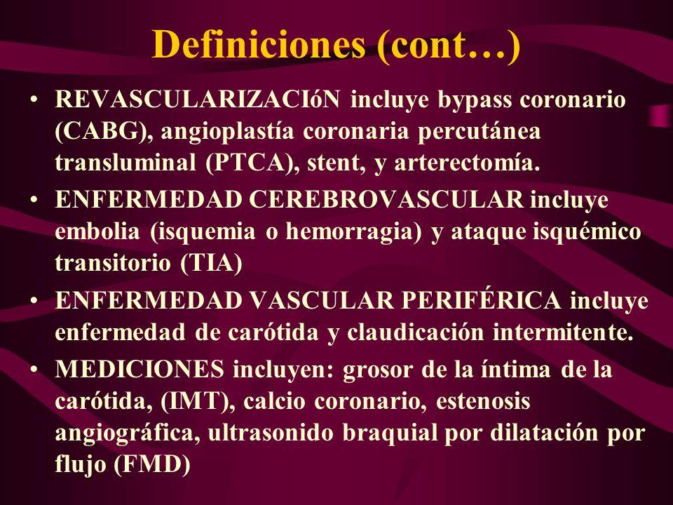 Definiciones (cont…) REVASCULARIZACIóN incluye bypass coronario (CABG), angioplastía coronaria percutánea transluminal (PTCA), stent, y arterectomía.